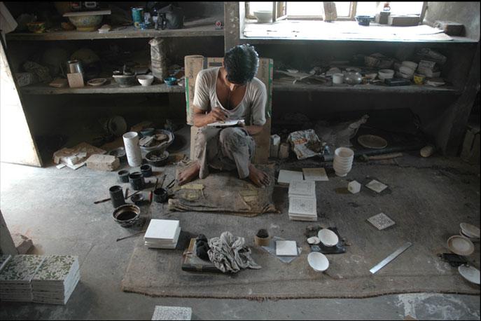 Emery & cie - Archive - Carrelages - Blue Pottery - Faux Iznik - Fabrication