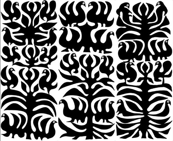 emery cie papiers peints au metre motifs oiseaux indiens. Black Bedroom Furniture Sets. Home Design Ideas